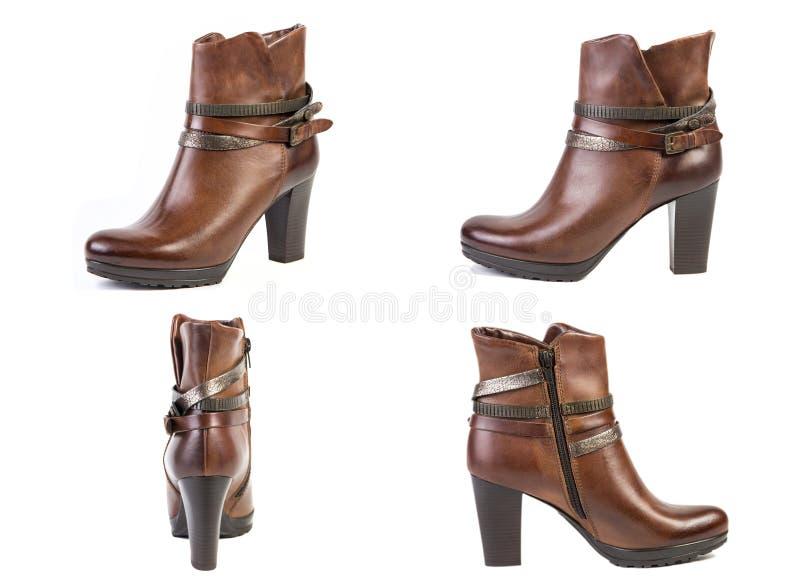 De collage van schoenen springt bruine laarzen voor vrouwenschoenen op op een witte achtergrond, online winkel royalty-vrije stock foto