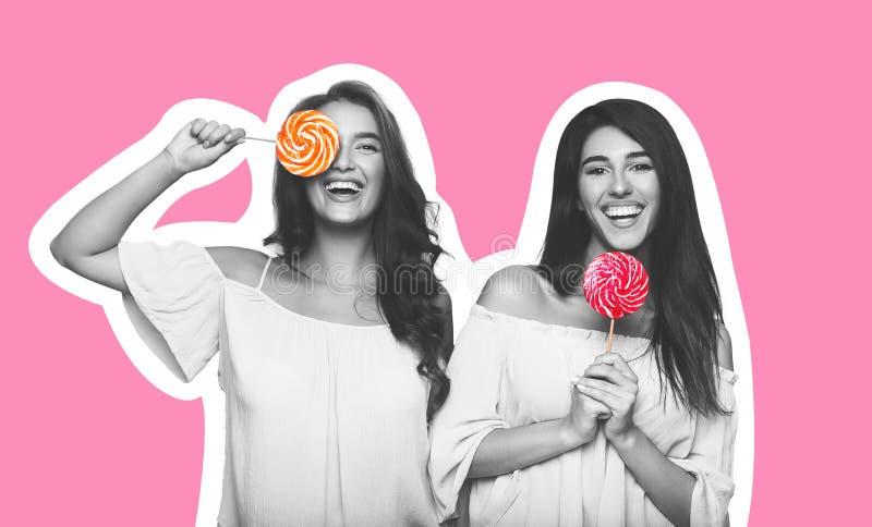 De collage van de tijdschriftstijl van twee jonge vrouwen met lollys royalty-vrije stock afbeeldingen