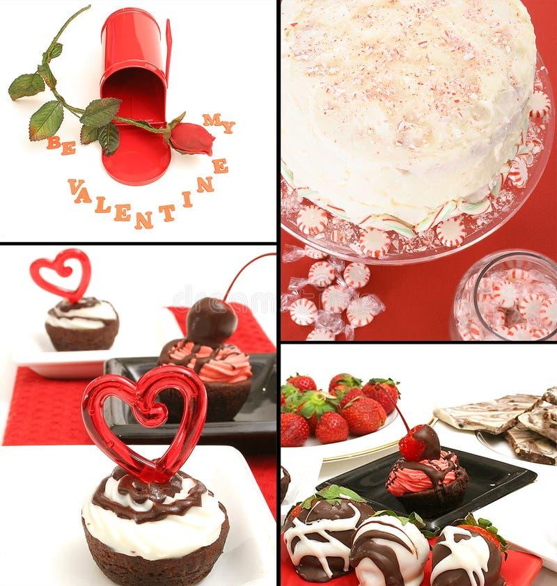 De collage van valentijnskaarten stock foto