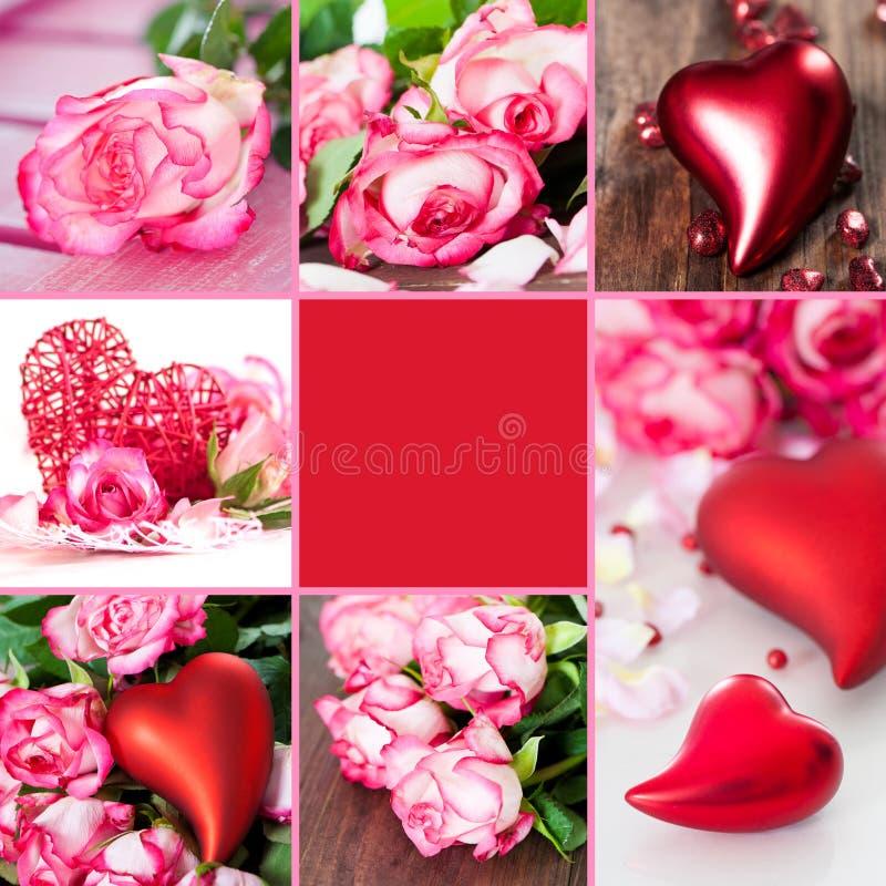 De collage van valentijnskaarten royalty-vrije stock afbeelding
