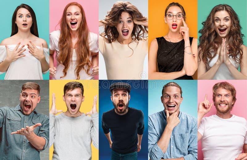 De collage van verraste mensen royalty-vrije stock afbeeldingen