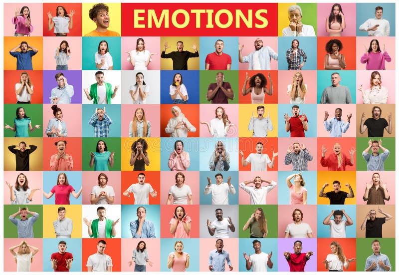 De collage van verraste mensen stock fotografie