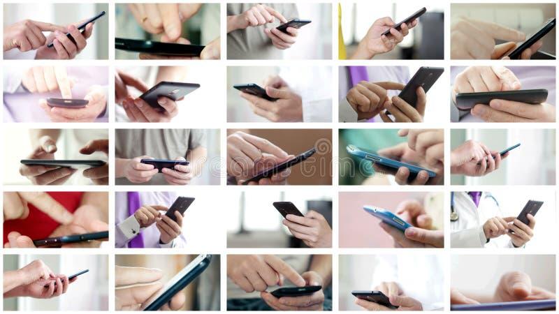 De collage van verschillende mensen overhandigt het texting SMS op smartphones stock foto