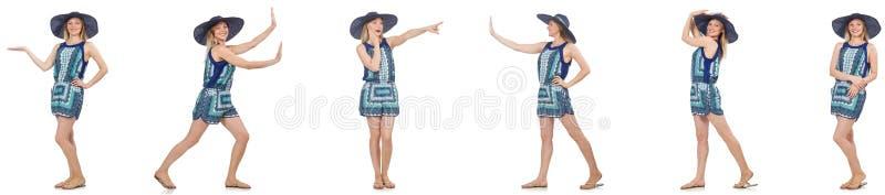 De collage van vrouw met de hoed van Panama op wit wordt geïsoleerd dat stock foto