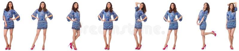 De collage van vrouw op manier kijkt ge?soleerd op wit stock foto's