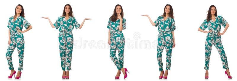 De collage van vrouw op manier kijkt ge?soleerd op wit royalty-vrije stock foto's
