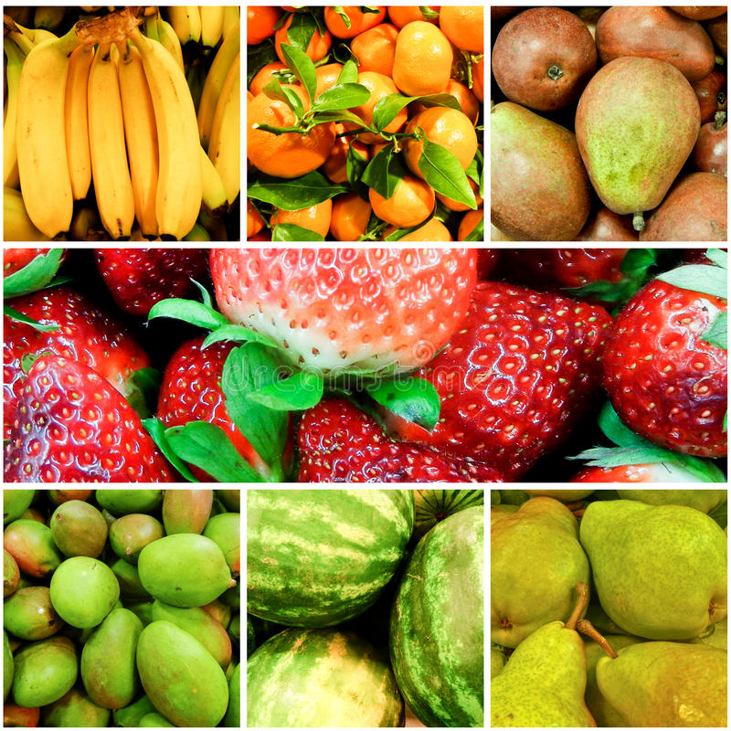 De Collage van vruchten stock foto's