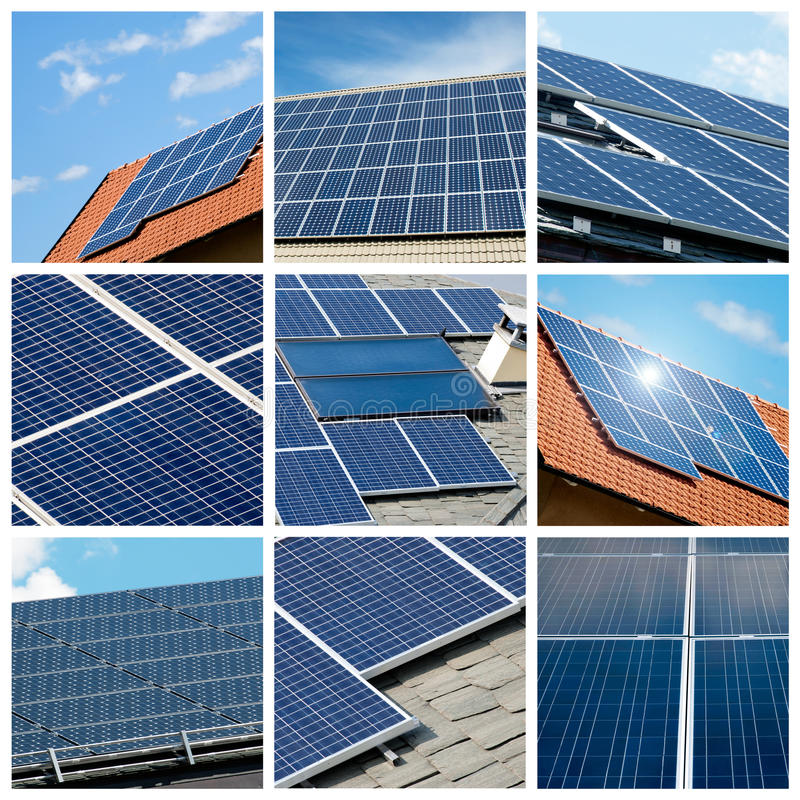 De collage van zonnepanelen stock foto's