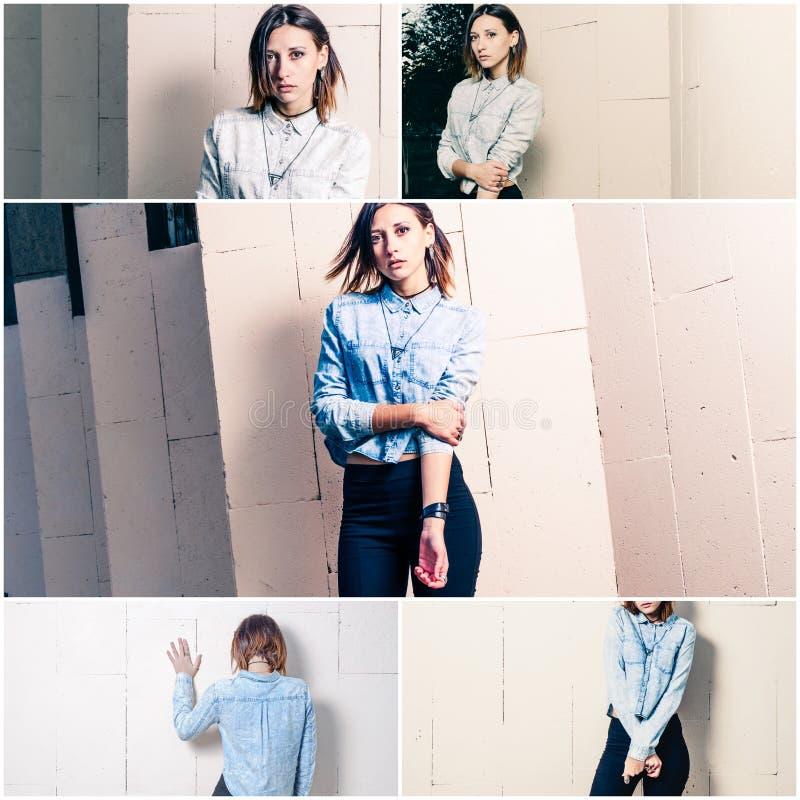 De collage vijf manier jonge vrouwen, straatmanier ziet eruit stock foto