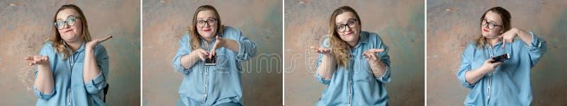De collageportretten van aantrekkelijk plus groottevrouw die emoties hebben zijn met de telefoon in hand over gekleurde achtergro stock foto