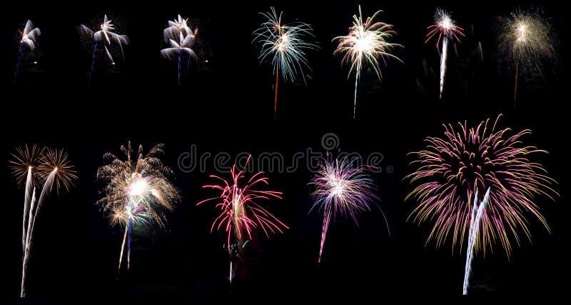 De collagereeks van het vuurwerk royalty-vrije stock foto