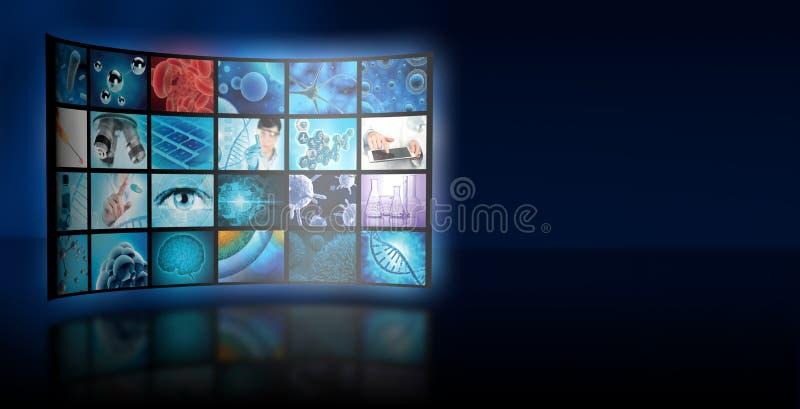 De collagevertoning van de microbiologiebeelden op blauwe achtergrond stock fotografie