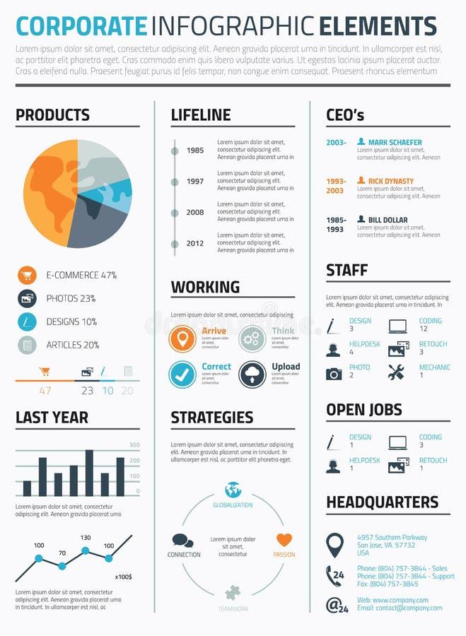 De collectieve infographic vector van het elementenmalplaatje royalty-vrije illustratie