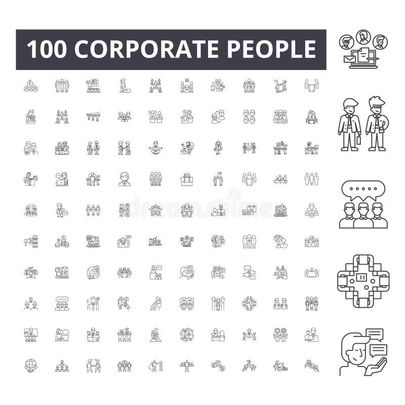 De collectieve pictogrammen van de mensenlijn, tekens, vectorreeks, het concept van de overzichtsillustratie stock illustratie