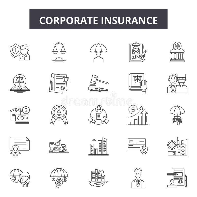 De collectieve pictogrammen van de verzekeringslijn, tekens, vectorreeks, het concept van de overzichtsillustratie vector illustratie
