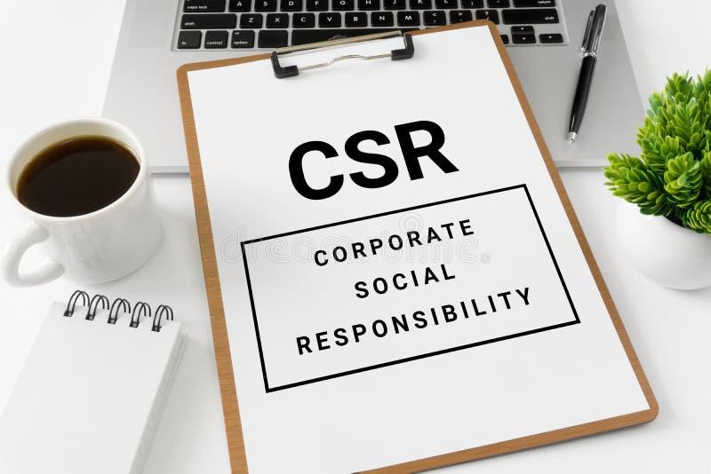 De Collectieve Sociale Verantwoordelijkheid van CSR op Witboek stock foto