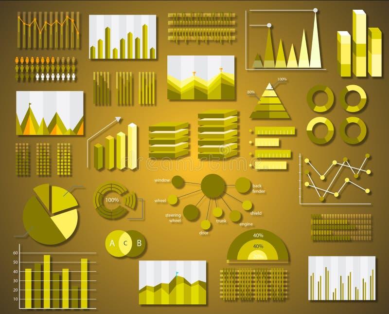 De collectieve vectorelementen van de informatiegrafiek in vlakke zaken vector illustratie