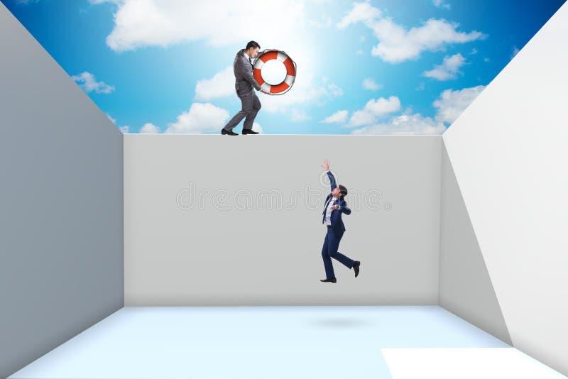 De collega van de zakenmanbesparing met reddingsboei stock illustratie