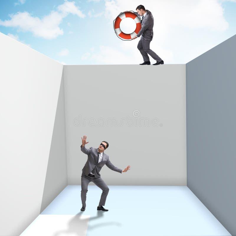 De collega van de zakenmanbesparing met reddingsboei vector illustratie