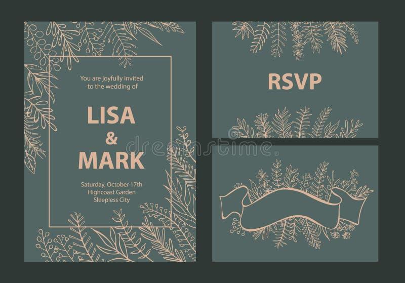 De color caqui elegante y el beige colorearon plantillas de las invitaciones de la boda fijadas con las ramas de la hoja floral ilustración del vector