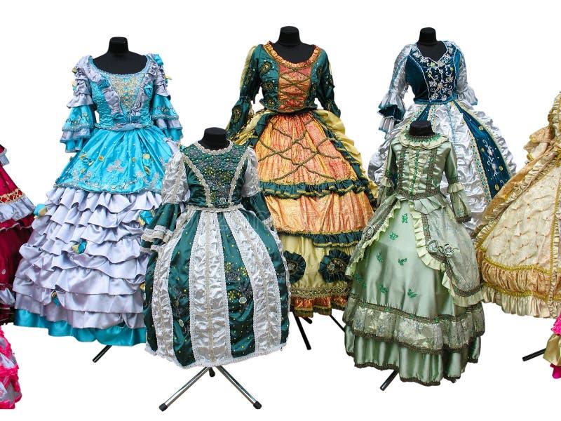 De Colorfull gestileerde geïsoleerde kleren van het vrouwen middeleeuwse kostuum stock foto's