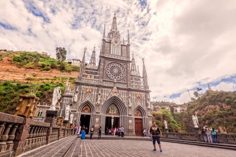 De Columbiaanse Katholieke Kerk van Laslajas, Ipiales, Colombia stock foto