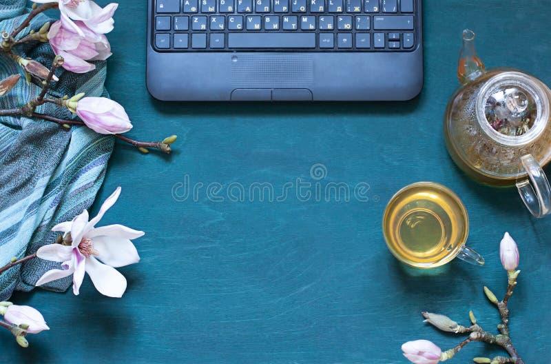 De comfortabele vlakte van de het werkruimte legt met magnoliabloemen, laptop en groene thee, de Hoogste samenstelling van de men stock fotografie