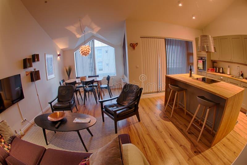De comfortabele woonkamer van de de dienstflat stock foto