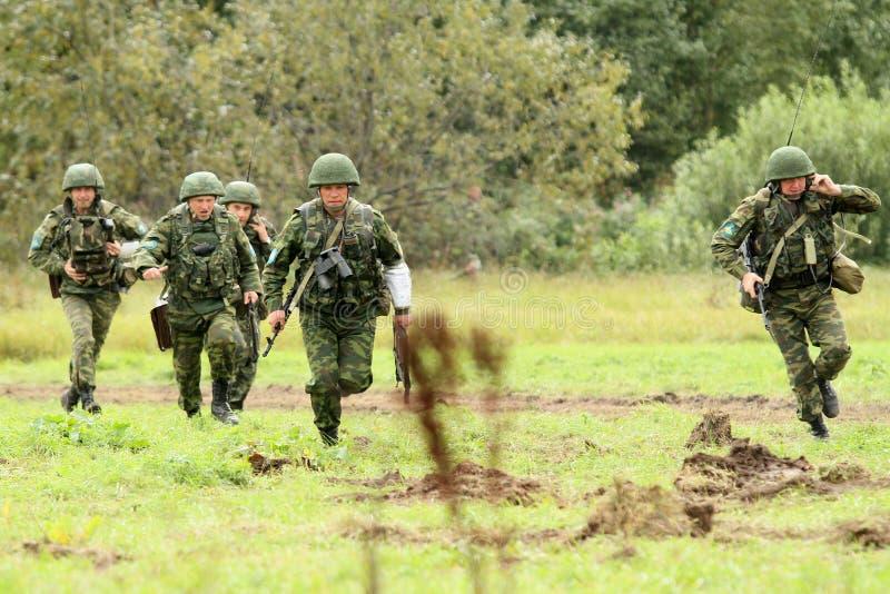 De commandopost oefent Afdeling In de lucht in Rusland uit royalty-vrije stock foto