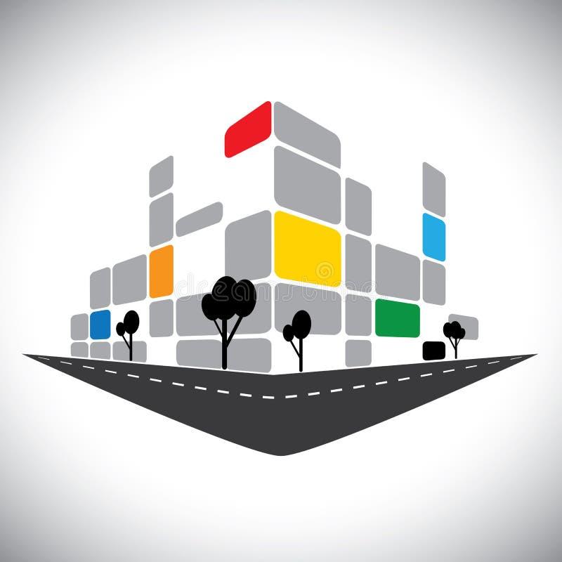 De commerciële bureauhigh-rise bouw vector illustratie