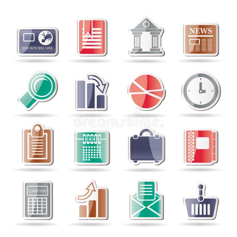 De commerciële en van het Bureau Realistische Pictogrammen van Internet stock illustratie