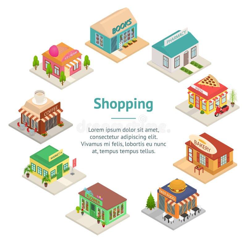 De commerciële Stad winkelt de Kaartcirkel van de Tekens het Isometrische Weergeven van 3d Banner Vector royalty-vrije illustratie