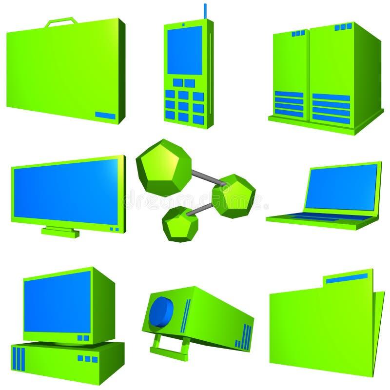 De Commerciële van de Informatietechnologie Geplaatste Pictogrammen van de Industrie vector illustratie