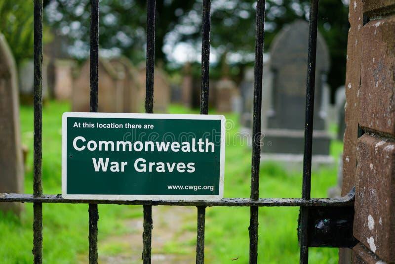 De Commissie van de Oorlogsgraven van de Commonwealth teken stock foto's