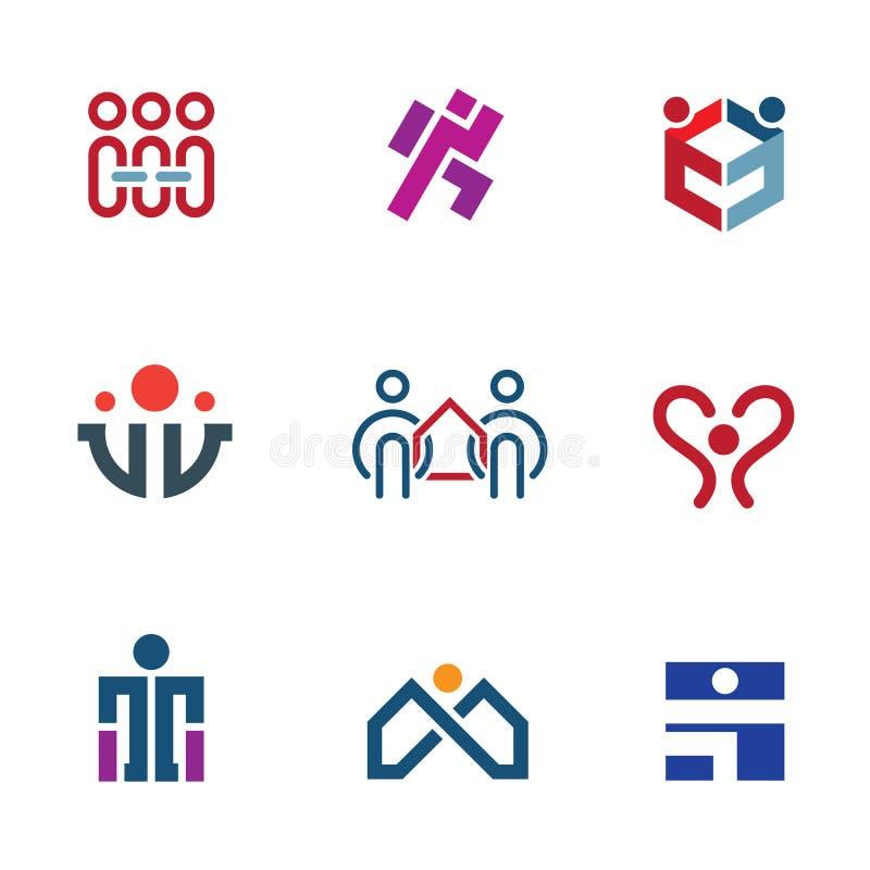 De communautaire hulp van aandeelmensen voor het herbouwen van het pictogramreeks van het de maatschappijembleem stock illustratie