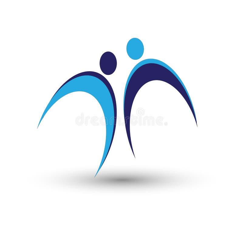 De communautaire mensen geven embleem en symbolenmalplaatje Malplaatje, symbolen stock illustratie