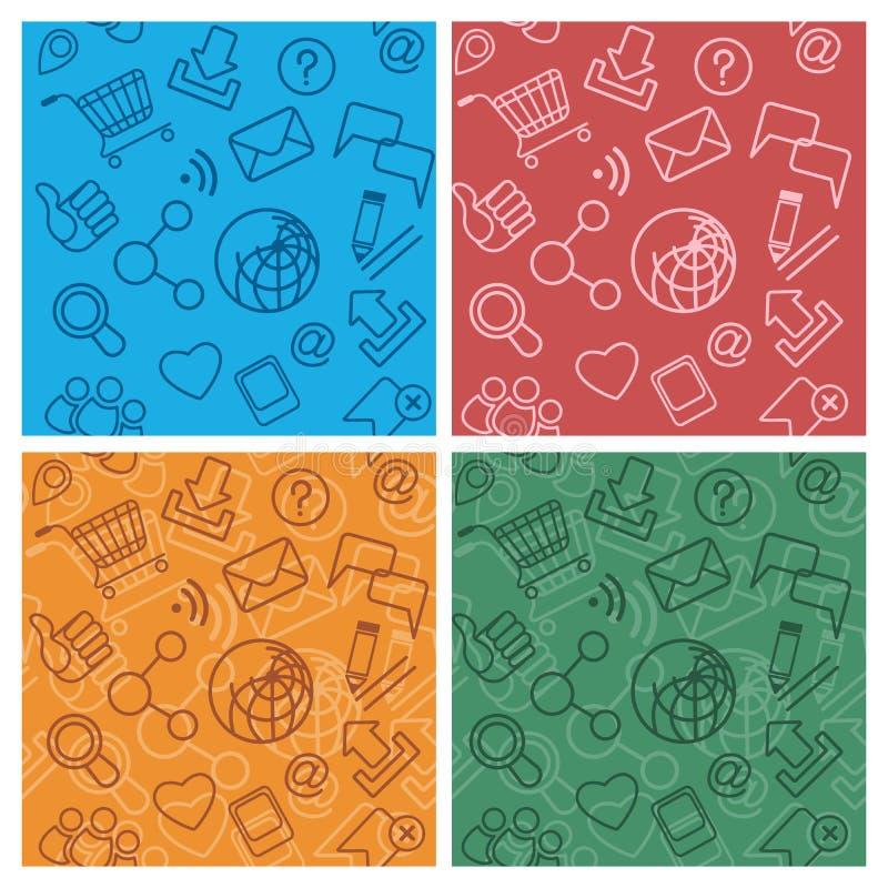 De communautaire veelkleurige patronen van Internet stock illustratie