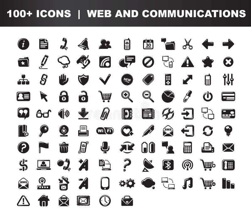 De Communicatie Pictogrammen Van Het Web & Stock Foto