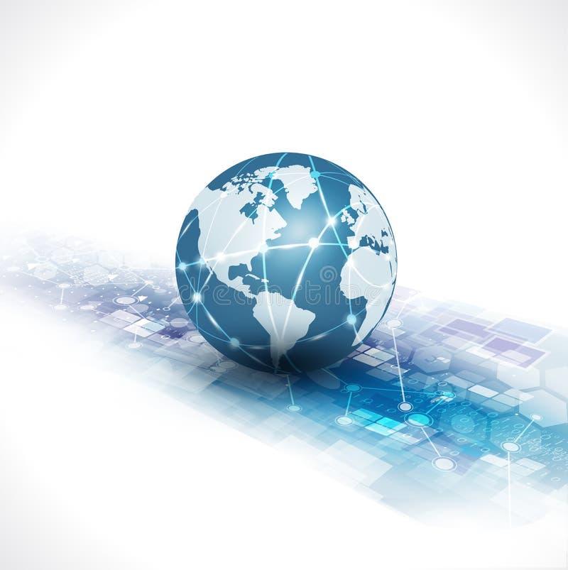 De communicatie wereld & technologie de bedrijfsstroommotie isoleren witte achtergrond, vector & illustratie vector illustratie