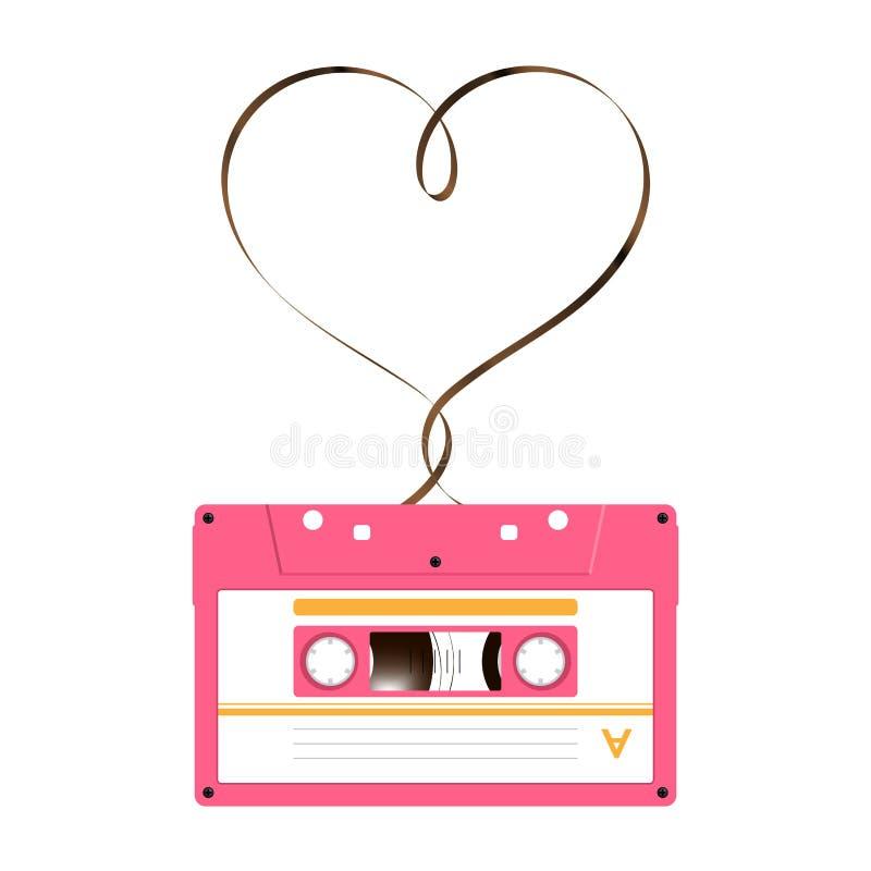 De compacte audio van de cassette roze kleur en Liefde gemaakte vorm van het hartteken royalty-vrije illustratie
