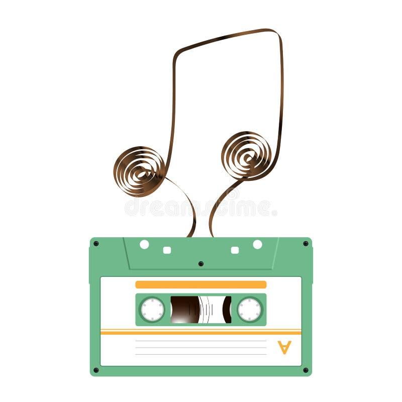 De compacte audiocassette groene kleur en de Muziek nemen nota van vorm die van analoge magnetische audiobandillustratie wordt ge stock illustratie