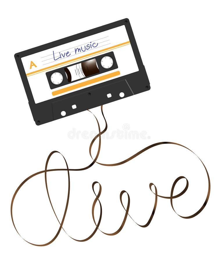 De compacte audiocassette zwarte kleur en de levende tekst maakten van analoge magnetische audiobandillustratie vector illustratie