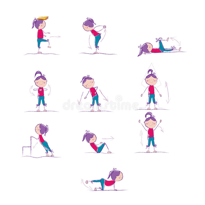 De complexe oefening van de voorproefochtend voor gezondheidsbevordering charging vector illustratie