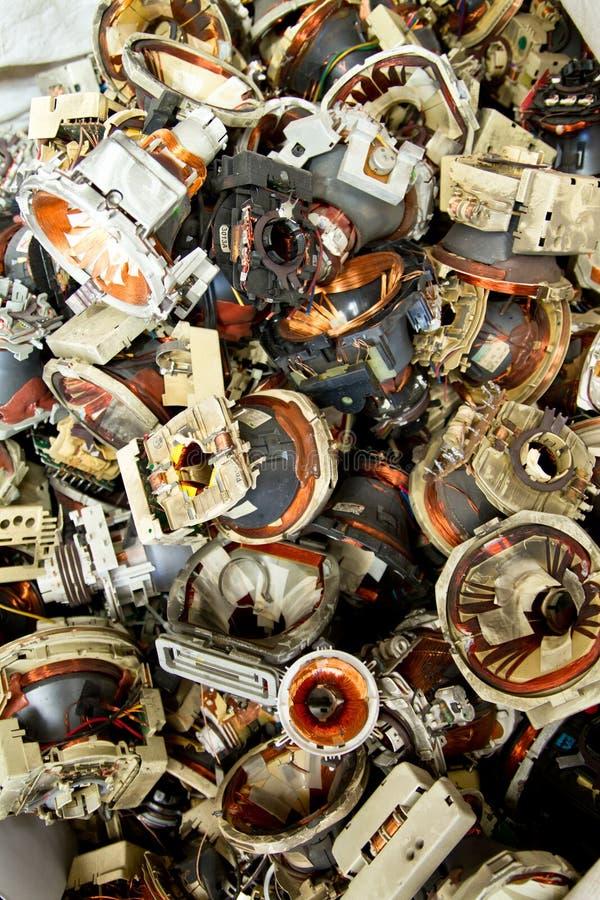 De componenten e-afval van de televisie voor recycling stock foto