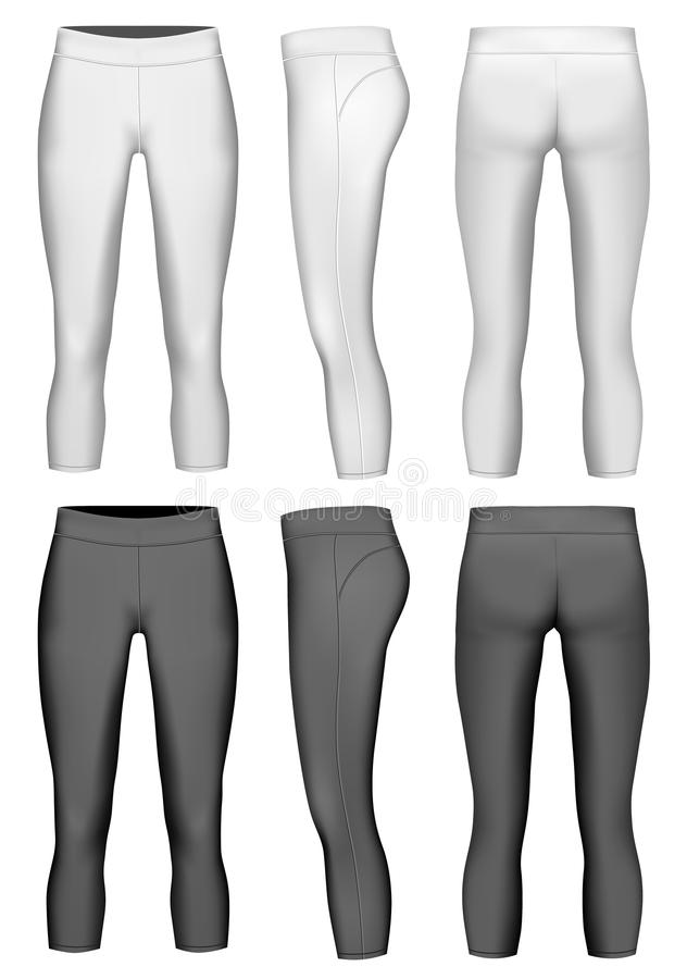 De compressiebeenkappen van de vrouwen` s 3/4 lengte stock illustratie