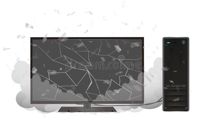 De computadora personal de escritorio quebrado y monitor ilustración del vector