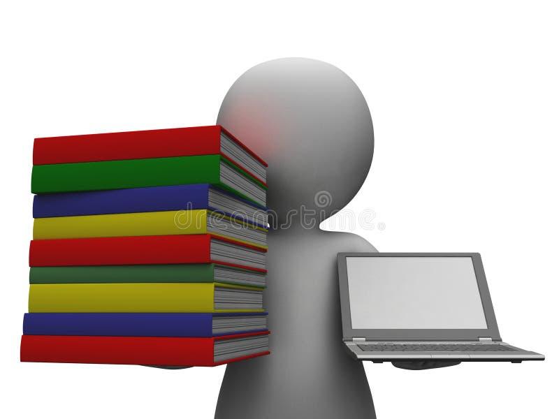 De Computer die van studentenwith books and Onderwijs tonen royalty-vrije illustratie