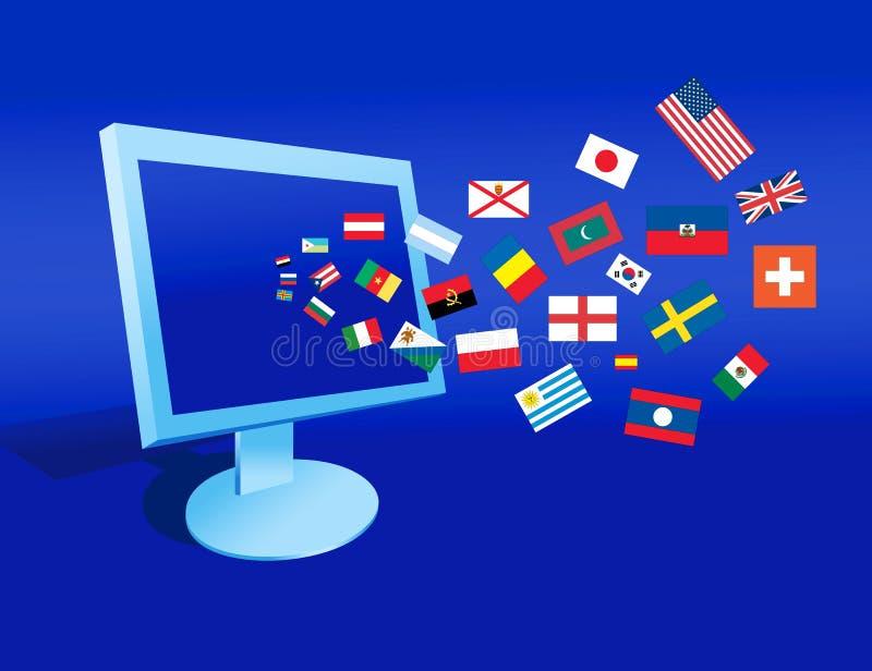 De computer en de vlaggen stock illustratie