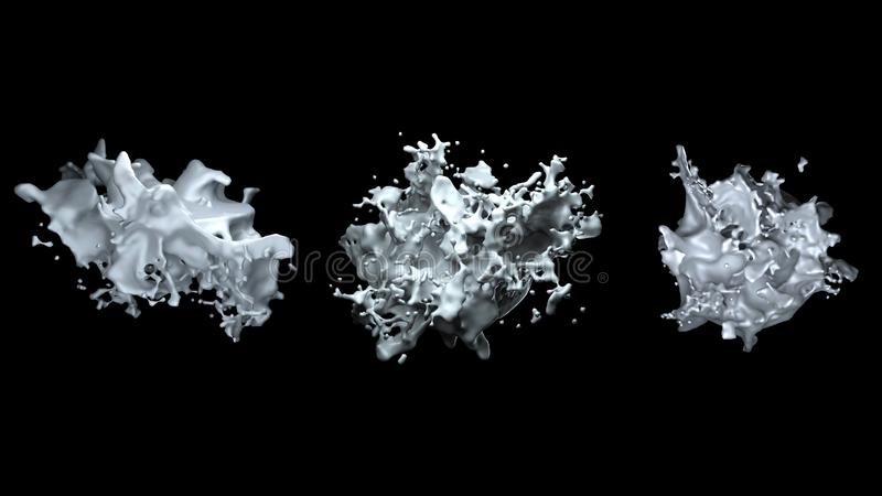 De computer genereerde een voorwerp gelijkend op een stolsel van melk of een witte vloeistof met vele besproeiingen, die op een z royalty-vrije illustratie