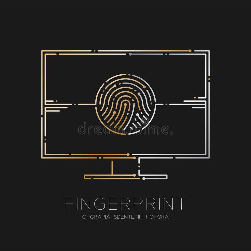 De computer met de lijn van het Vingerafdrukstreepje, Digitaal de illustratiegoud en zilver van het bureauconceptontwerp isoleerd vector illustratie